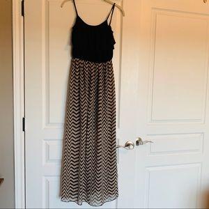 Black and tan Spaghetti Strap Chevron Maxi Dress